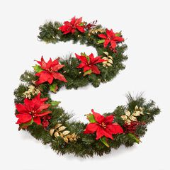 Pre-Lit Poinsettia Garland, RED