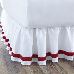 Velvet Trim Bedskirt, WHITE RED