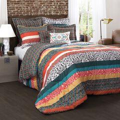 Lush Décor Boho Stripe Comforters Turquoise/ Tangerine 7 Piece Set, TURQUOISE TANGERINE