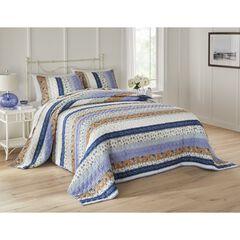 Claudine Floral Printed Bedspread, NAVY IVORY FLORAL