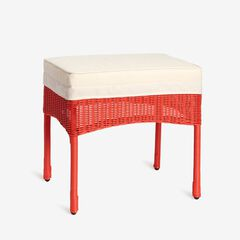 Roma All-Weather Resin Wicker Ottoman, CORAL