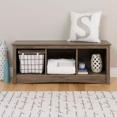 Simple Tri-Cubby Bench, GRAY