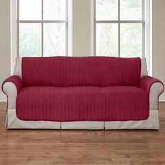 Reversible Plush Stripe Extra-Long Sofa Protector, CRANBERRY
