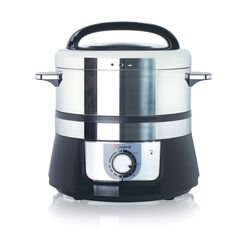 Euro Cuisine Stainless Steel Electric Food Steamer, BLACK AND STAINLESS