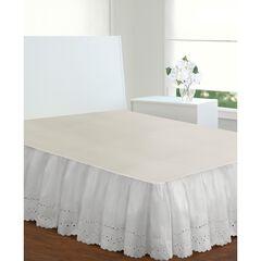 "Fresh Ideas Ruffled Eyelet 18"" Bed Skirt, Twin, WHITE"