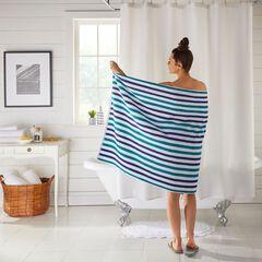 "BH Studio Striped 35"" x 70"" Bath Sheet, NAVY PEACOCK"