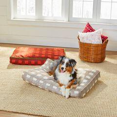 Large Brushed Fleece Buffalo Plaid Pet Bed, NATURAL