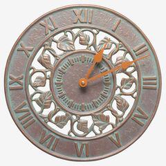 """Ivy Silhouette 12"""" Indoor Outdoor Wall Clock, COPPER VERDIGRIS"""
