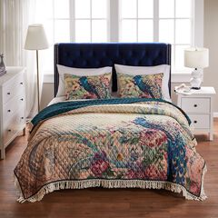 Barefoot Bungalow Eden Peacock Quilt and Pillow Sham Set, ECRU