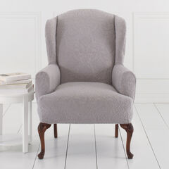 BH Studio Ikat Stretch Wing Chair Slipcover, GRAY