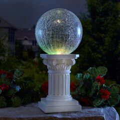 Color-Changing Crackle Glass Ball on Column, CLEAR STONE