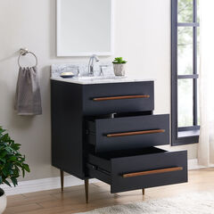 Yatesling Italian Marble Bath Vanity Sink, BLACK
