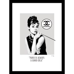 "Audrey Hepburn Black/White 14"" x 18"" Framed Print, BLACK RED"