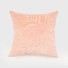 Palm Leave Velvet Accent Pillow, PINK