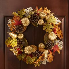 """24"""" Gold Pumpkin Harvest Wreath, GOLD"""