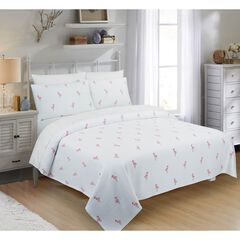 Flamingo Coverlet, WHITE PINK