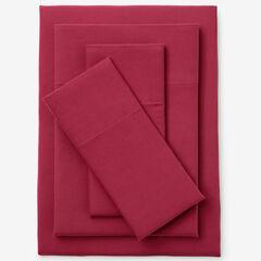 Cotton Flannel Print Sheet Set, CRANBERRY