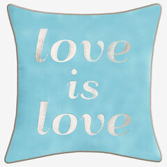 """Embroidered """"Love Is Love"""" Decorative Pillow, MINERAL BLUE"""