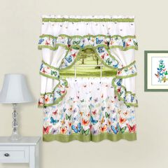 Butterflies Printed Cottage Window Curtain Set, GREEN