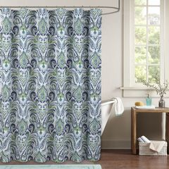 Provence Paisley Shower Curtain, BLUE WHITE GREEN