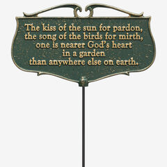 The Kiss of the Sun Garden Poem Sign, GREEN GOLD