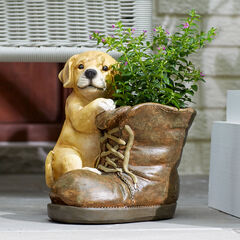 Dog with Boot Planter, MULTI