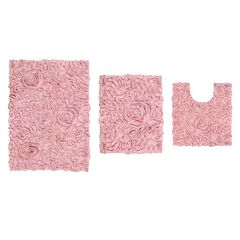 Bellflower 3-Pc. Bath Rug Set, PINK