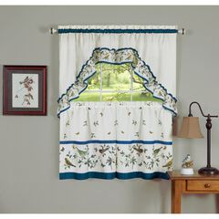 Love Birds Printed Tier and Swag Window Curtain Set, BLUE