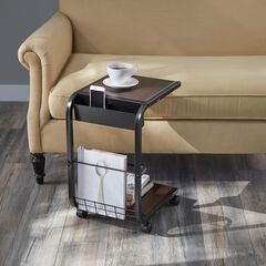 Rolling Side Table, BROWN