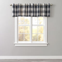 Courtyard Plaid Grommet Valance, NAVY