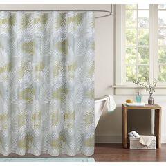 Palms Shower Curtain, BLUE GREEN WHITE