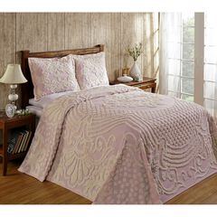 Florence Collection Tufted Chenille Bedspread , PINK