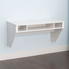 Minimal Tri-Cubby Floating Desk, WHITE WASH