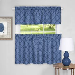 Colby Window Curtain Tier Pair and Valance Set, BLUE