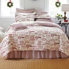 Vintage Christmas 4-Pc. Quilt Set, IVORY RED
