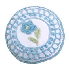 Bloomfield Collection in Floral Design 100% Cotton Tufted Chenille Round Pillow , BLUE