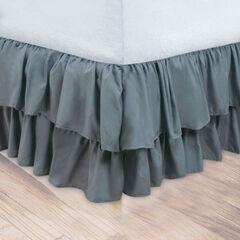 Double Ruffle Bedskirt, GRAY