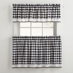 Buffalo Check Tier Curtain Set, BLACK WHITE