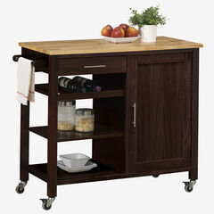 Calgary Cart with Wood Top, EXPRESSO