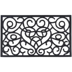 "Wrought Iron Rubber Mat 18"" x 30"", BLACK RECTANGLE SWIRL"
