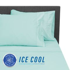 SensorPEDIC Ice Cool 400 Thread Count Cotton-Rich Surf Spray Blue Sheet Se, BLUE