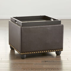Studded Ottoman with Tray, DARK BROWN