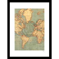 """Louis Vuitton Map Beige 14"""" x 18"""" Framed Print, GREY"""