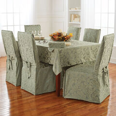 9-Pc. Round Damask Table Linen Set, SAGE