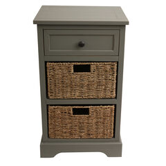 Antique 2 Drawer with 2 Baskets, ANTIQUE GREY