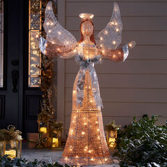 "58""H LED Glitter Angel, MULTI"