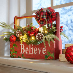 Pre-Lit Believe Wooden Basket, MULTI