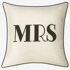 """Embroidered Applique """"Mrs"""" Decorative Pillow, OYSTER BLACK"""