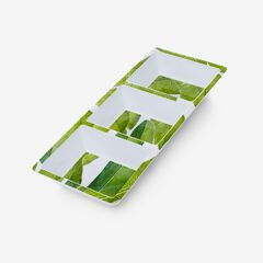 Banana Leaf 3-Section Tray, GREEN
