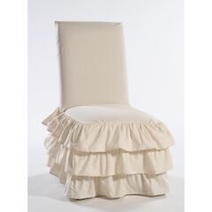 3-Tier Ruffled Dining Chair Slipcover , KHAKI